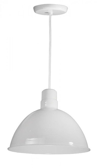 "Chandeliers/Pendant Lights By American Nail Plate 16"" Deep Bowl Shade on a White Cord with canopy using a medium base socket in Marine Grade White D616-WHC-107"