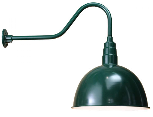 "Wall Lights By American Nail Plate 18"" Deep Bowl Shade with Gooseneck Arm in Marine Grade Forest Green using a medium base socket D618-E6-102"