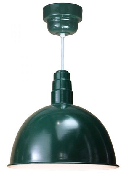 "Chandeliers/Pendant Lights By American Nail Plate 18"" Deep Bowl Shade in Marine Grade Forest Green on a White cord using 24w LED module D618-M024LDNW40K-RTC-WHC-102"
