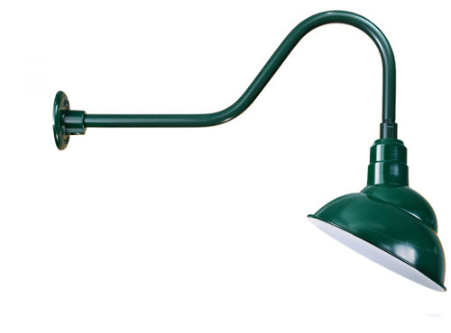"Outdoor Lights By American Nail Plate 12"" Rounded Emblem Shade  with gooseneck arm extension in Forest Green using a medium base sock with Marine Grade Finish"