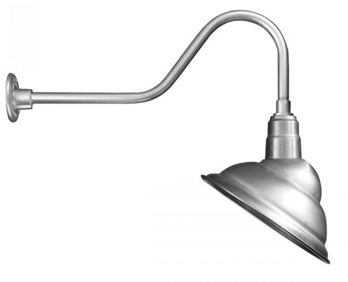 """Outdoor Lights By American Nail Plate 14"""" Rounded Emblem Shade with gooseneck arm extension in Galvanized using a medium base socket. M714-E6-49"""