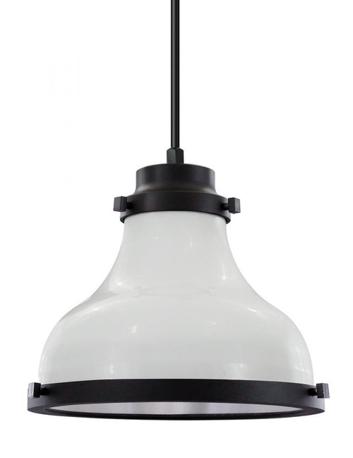 "Chandeliers/Pendant Lights By American Nail Plate 10"" Madison shade in a White finish with black trim and a clear lens on a Black 8' cord. MA10-BLC-CL10-44-41"