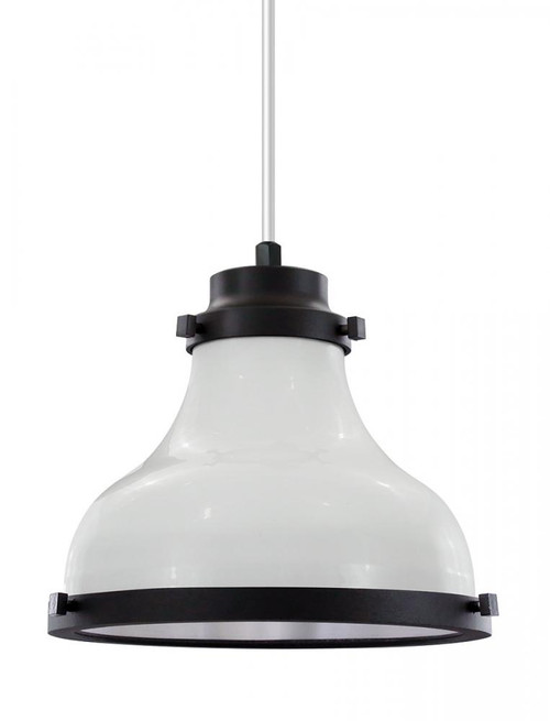 "Chandeliers/Pendant Lights By American Nail Plate 10"" Madison shade in White finish with black trim and a clear lens on a White 8' cord. MA10-WHC-CL10-44-41"
