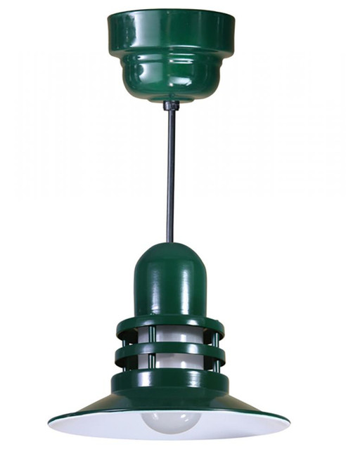 "Chandeliers/Pendant Lights By American Nail Plate 12"" Orbitor Shade including frosted glass in Forest Green on an 8' Black Cord with a 32w ORB12-FR-32WPL-RTC-BLC-42"