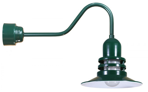"Wall Lights By American Nail Plate 12"" Fluorescent Orbitor Shade including frosted glass on a gooseneck arm in Forest Green ORB12-FR-32WPL-RTC-E6-42"
