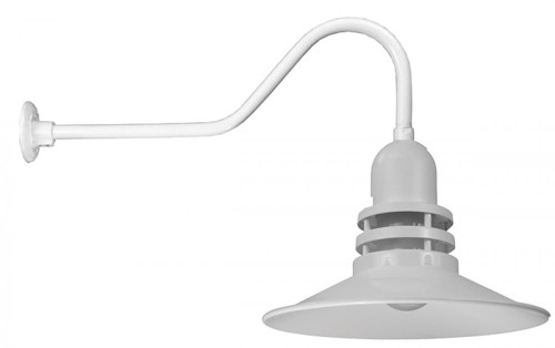 """Wall Lights By American Nail Plate 16"""" Orbitor Shade including frosted glass mounted on a gooseneck arm in White. ORB16-FR-E6-44"""