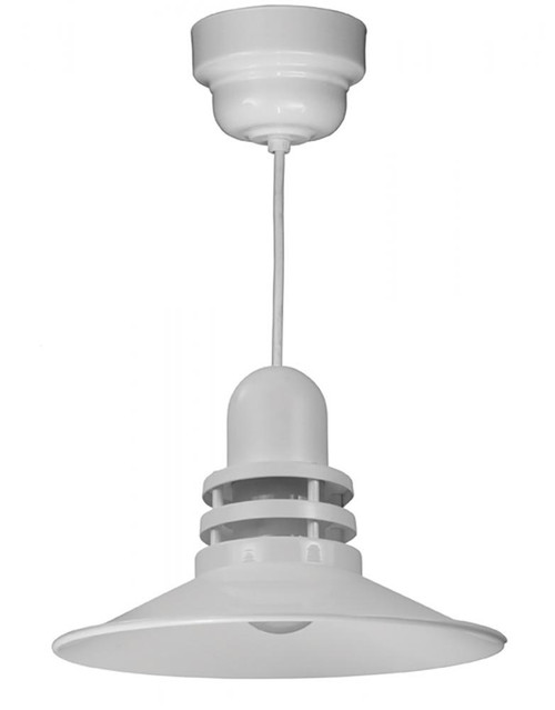 "Chandeliers/Pendant Lights By American Nail Plate 16"" Orbitor Shade in White including frosted glass on an 8' White cord with driver housing ORB16-FR-M016LDNW40K-RTC-WHC-44"