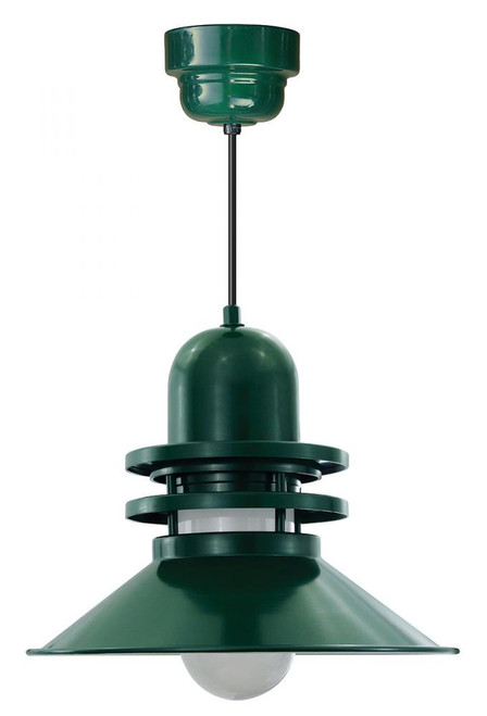 "Chandeliers/Pendant Lights By American Nail Plate 16"" Orbitor Shade in Marine Grade Forest Green with Frosted Glass on an 8' Black cord ORB216-FR-M024LDNW40K-RTC-BLC-102"