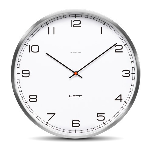 Home Decor By Leff Amsterdam wall clock one35 stainless steel white arabic