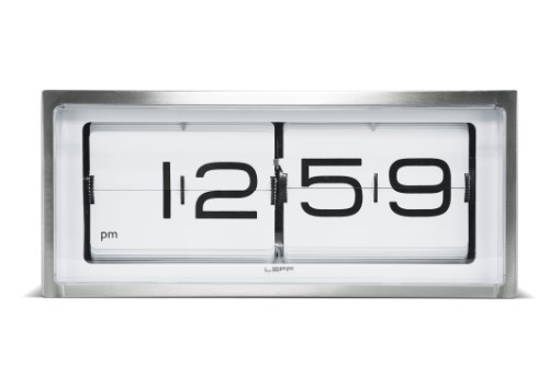 Home Decor By Leff Amsterdam wall or desk clock brick stainless steel 24h white