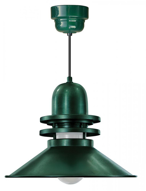 """Chandeliers/Pendant Lights By American Nail Plate 18"""" Orbitor Shade in Forest Green with Frosted Glass on an 8' Black cord with a Driver Canopy ORB218-FR-M024LDNW40K-RTC-BLC-42"""