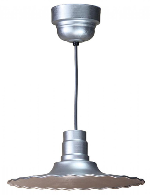 """Chandeliers/Pendant Lights By American Nail Plate 16"""" Scallop Edged Radial Shade in Galvanized on an 8' Black cord with Driver Canopy using a R916-M016LDNW40K-RTC-BLC-49"""