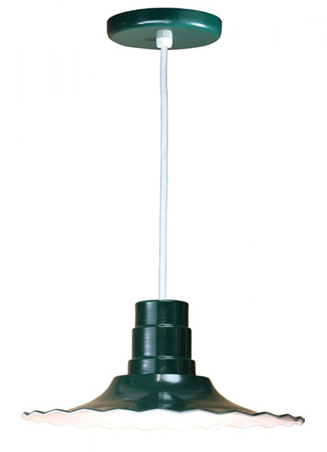 """Chandeliers/Pendant Lights By American Nail Plate 16"""" Scallop Edged Radial Shade in Forest Green mounted on a 8' White cord using a medium base R916-WHC-42"""