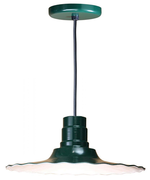 """Chandeliers/Pendant Lights By American Nail Plate 18"""" Scallop Edged Radial Shade in Marine Grade Forest Green mounted on a 8' Black cord R918-BLC-102"""