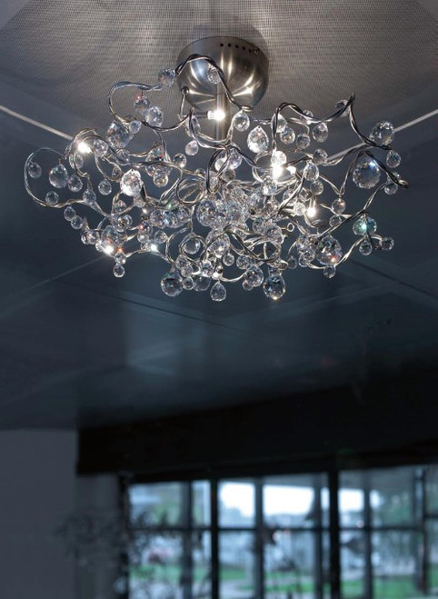 Ceiling Lights By Harco Loor Tiara Diamond Semi-Flushmount Ceiling Light 9 LED