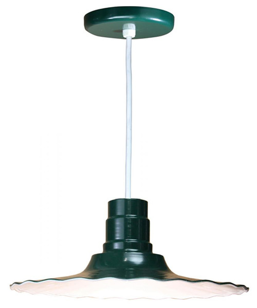 """Chandeliers/Pendant Lights By American Nail Plate 18"""" Scallop Edged Radial Shade in Marine Grade Forest Green mounted on a 8' White cord R918-WHC-102"""