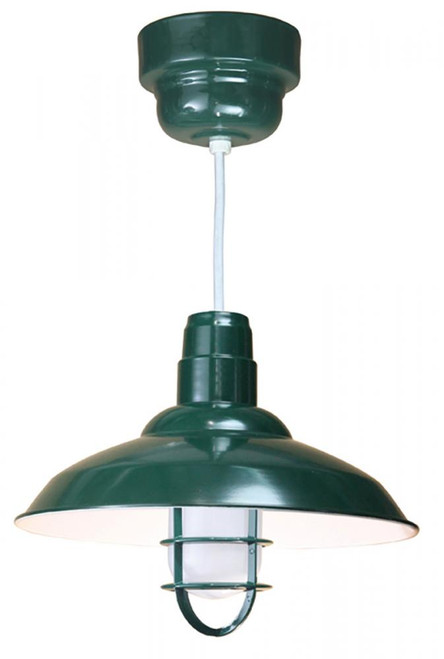 """Chandeliers/Pendant Lights By American Nail Plate 16"""" Warehouse reflector Barn Style  Shade in Marine Grade Forest Green with clear glass and cast"""