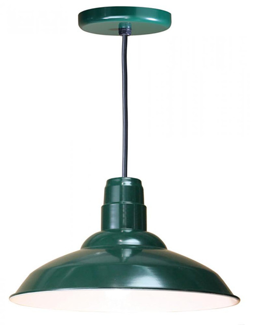 "Chandeliers/Pendant Lights By American Nail Plate 16"" Warehouse reflector Barn Style Shade in Forest Green on an 8' Black cord using a medium W516-BLC-42"