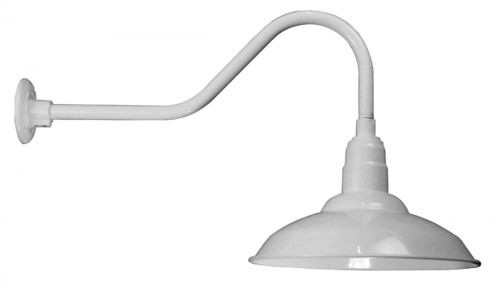 """Wall Lights By American Nail Plate 16"""" Warehouse Shade with Gooseneck Arm in Marine Grade White . W516-E6-107"""