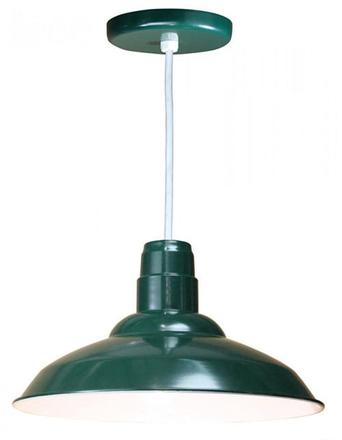 "Chandeliers/Pendant Lights By American Nail Plate 16"" Warehouse reflector Barn Style Shade in Forest Green on an 8' White cord using a medium W516-WHC-42"