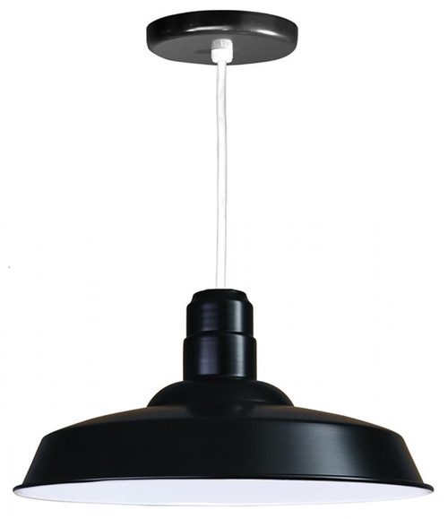 """Chandeliers/Pendant Lights By American Nail Plate 18"""" Warehouse reflector Barn Style Shade in Marine Grade Black on an 8' White cord W518-WHC-101"""