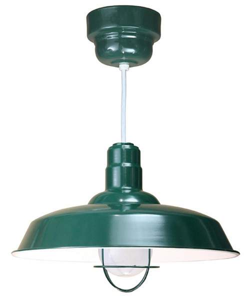 """Chandeliers/Pendant Lights By American Nail Plate 20"""" Warehouse reflector Barn Style Shade with frosted glass and wire guard all in Forest Green o with Standard Finish"""