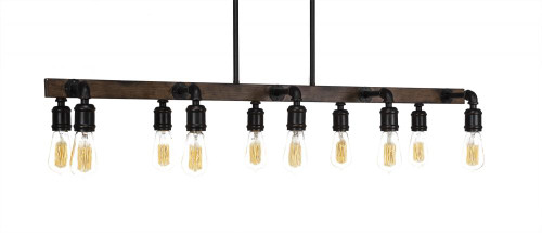 Portland 10 Light Black Pendant Light-1140-LED18A by Toltec Lighting
