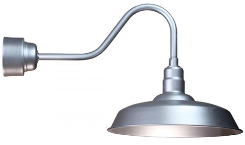 """Wall Lights By American Nail Plate 20"""" LED Warehouse Shade with Gooseneck Arm and Driver Housing in Galvanized using a 16w LED module"""