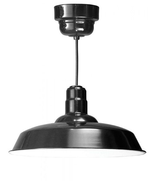 "Chandeliers/Pendant Lights By American Nail Plate 20"" Warehouse reflector Barn Style shade in Marine Grade Black on an 8' Black cord with driver W520-M024LDNW40K-RTC-BLC-101"
