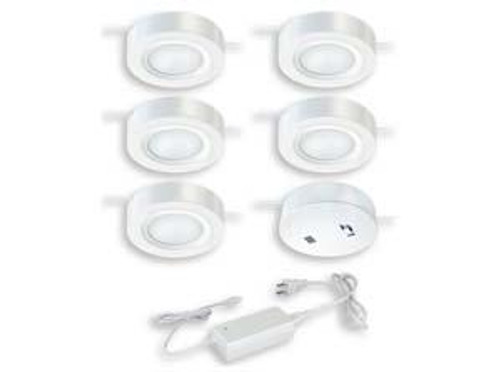 Dual Mount Instalux LED Under Cabinet Puck Light 5-Pack Kit White-X0058 by Vaxcel Lighting