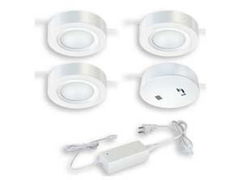 Dual Mount Instalux LED Under Cabinet Puck Light 3-Pack Kit White-X0057 by Vaxcel Lighting
