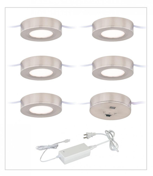 Dual Mount Instalux LED Under Cabinet Puck Light 5-Pack Kit Satin Nickel-X0082 by Vaxcel Lighting