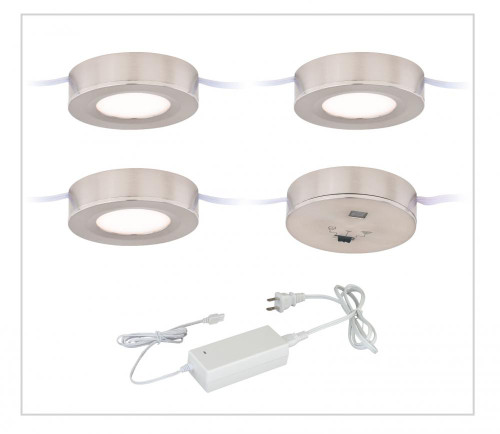 Dual Mount Instalux LED Under Cabinet Puck Light 3-Pack Kit Satin Nickel-X0081 by Vaxcel Lighting
