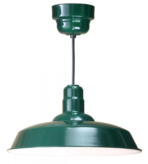 """Chandeliers/Pendant Lights By American Nail Plate 20"""" Warehouse reflector Barn Style shade in Marine Grade Forest Green on an 8' Black cord W520-M024LDNW40K-RTC-BLC-102"""