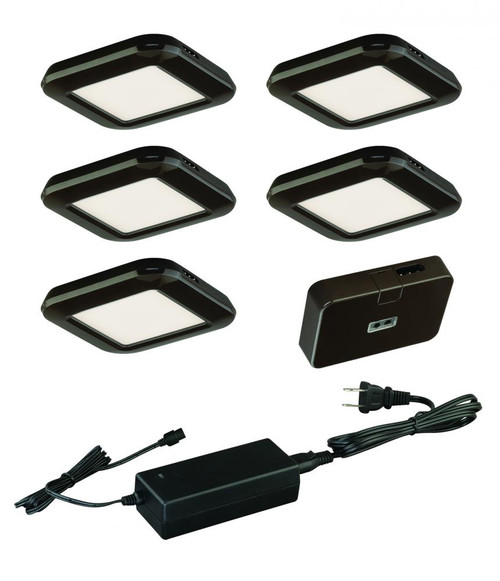 Low Profile Instalux LED Under Cabinet Puck Light 5-Pack Kit Bronze-X0033 by Vaxcel Lighting