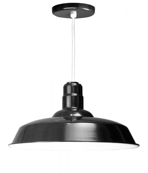 """Chandeliers/Pendant Lights By American Nail Plate 20"""" Warehouse reflector Barn Style Shade in Black on an 8' White cord using a medium base W520-WHC-41"""