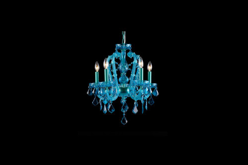 Chandeliers/Mini Chandeliers By Avenue Lighting OCEAN DRIVE COLLECTION AQUA BLUE 5 LIGHT CRYSTAL MINI CHANDELIER HF1037-BLU