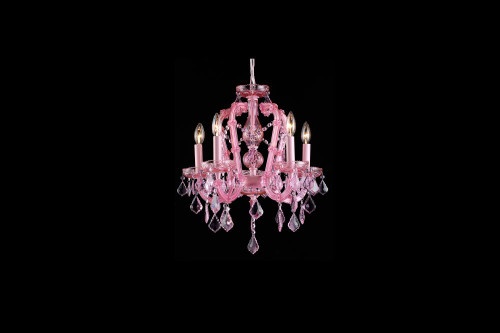 Chandeliers/Mini Chandeliers By Avenue Lighting SUNSET PL. COLLECTION PINK 5 LIGHT MINI CRYSTAL CHANDELIER HF1037-PNK