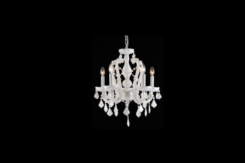 Chandeliers/Mini Chandeliers By Avenue Lighting CASA BLANCA WAY COLLECTION WHITE 5 LIGHT MINI CRYSTAL CHANDELIER HF1037-WHT