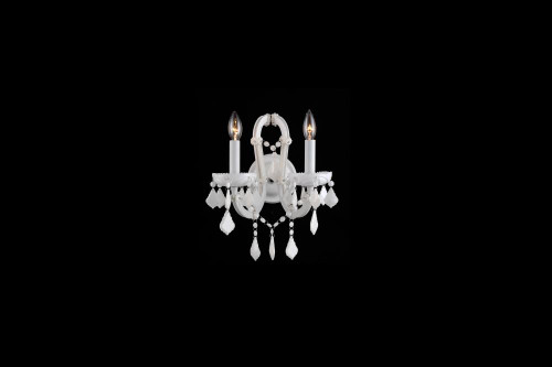 Wall Lights By Avenue Lighting CASABLANCA WAY. 2 LIGHTING WHITE CRYSTAL WALL SCONCE HF1041-WHT