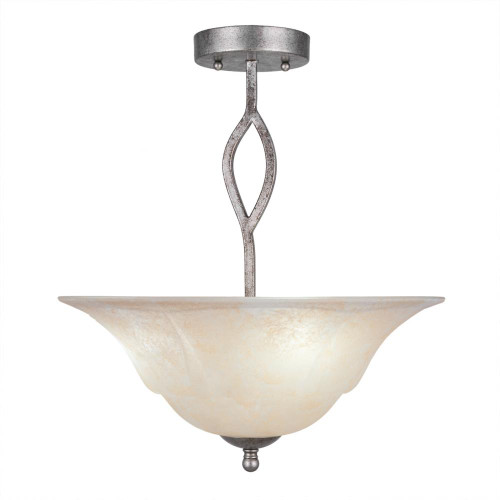 3 Light Amber Semi-Flushmount Ceiling Light-242-AS-53613 by Toltec Lighting