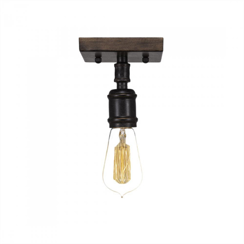 Portland 1 Light Black Semi-Flushmount Ceiling Light-1141-AT18 by Toltec Lighting