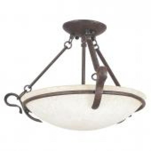 Venice 3 Light Bronze Semi-Flushmount Ceiling Light-F5486-62 by Sunset Lighting