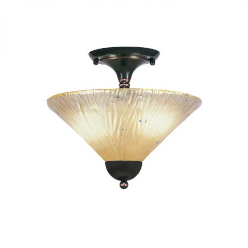 2 Light Amber Semi-Flushmount Ceiling Light-120-BC-700 by Toltec Lighting