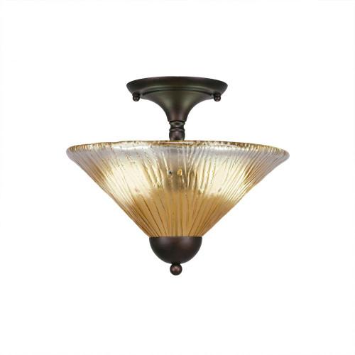 2 Light Amber Semi-Flushmount Ceiling Light-120-BRZ-700 by Toltec Lighting
