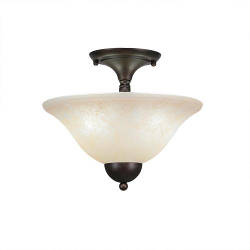 2 Light Amber Semi-Flushmount Ceiling Light-120-BRZ-523 by Toltec Lighting