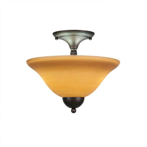 2 Light Tan Semi-Flushmount Ceiling Light-120-BRZ-624 by Toltec Lighting