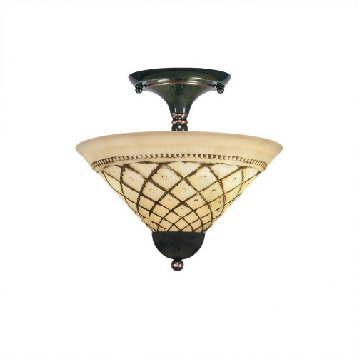 2 Light Brown Semi-Flushmount Ceiling Light-120-BC-7182 by Toltec Lighting