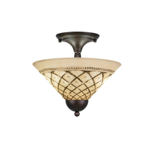2 Light Brown Semi-Flushmount Ceiling Light-120-BRZ-7182 by Toltec Lighting