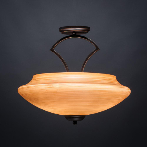 Zilo 3 Light Tan Semi-Flushmount Ceiling Light-565-DG-686 by Toltec Lighting